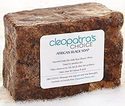 African Black Soap with Shea Butter and Coconut Oil - All Natural Facial Cleanser, Acne Treatment and Skin Cleanser - Shea Butter Soap Reduces Excess Oil and Helps Oily Skin - 12 OZ