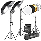 Neewer® 600W 5500K Photo Studio Black/Silver Umbrella Continuous Lighting Kit with 43