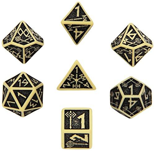 Q-Workshop Polyhedral 7-Die Set: Carved Dwarven Dice Set - Beige & Black
