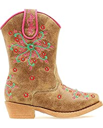 Blazin Roxx Toddler-Girls\' Savvy Embroidered Zipper Cowgirl Boot Snip Toe Brown 6 D(M) US