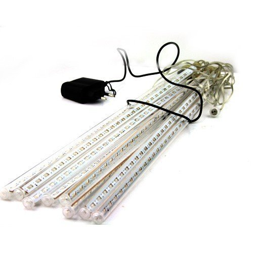 Qich® 8Tubes/Set 50Cm Romantic Meteor Shower Rain Tubes Led Christmas Wedding Garden Decoration String Light 240Led 100-240V/ Us Plug White