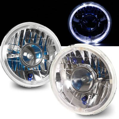 """Universal 7"""" Round Led Halo Rim Projector Headlights With H4 Bulbs"""