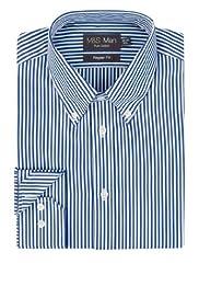 Pure Cotton Quick Iron Bold Striped Poplin Shirt [T11-1522-S]
