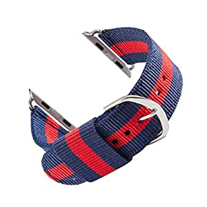 Grapestec NATO Watch Bands Specially Designed For 38mm Apple iWatch Ballistic Nylon And Stainless Steel Striped Blue /Red
