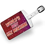 Luggage Tag Worlds best Sex Machine, happy sparkels, Travel ID Bag Tag - Neonbl