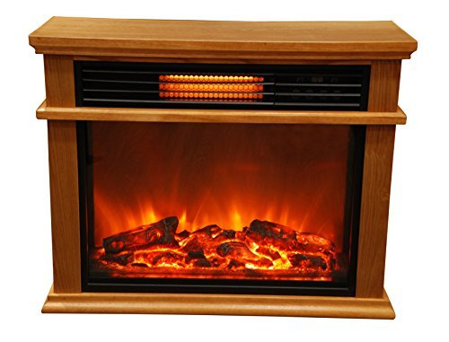 Lifesmart Friendly Large Room Infrared Fireplace Includes Deluxe Mantle In Burnished Oak & Remote