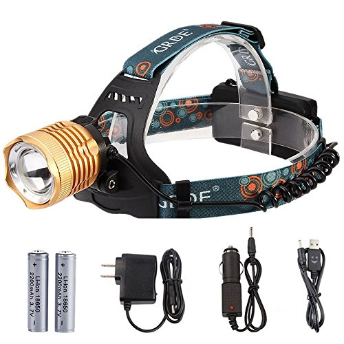 Zoomable Headlamp 3-Mode 1800Lumens Rechargeable LED Flashlight Waterproof Head Torch+ 2 X 18650 Rechargeable Batteries+ Wall Charger+ Car Charger+ Headlight Special USB Cable (Head Mounted Led Flashlight compare prices)