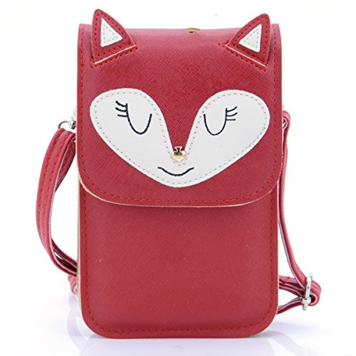 u-times-universal-mehrzweck-cute-3d-fox-muster-kunstleder-crossbody-wallet-handy-bag-mini-tasche-fur
