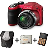 Panasonic Lumix LZ20 Bridge Camera - Red + Case + 8GB Memory Card + AA Battery and Charger (16.1MP, 21x Optical Zoom) 3 inch LCD