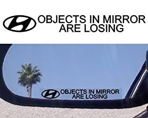 (2) MIRROR DECALS with logos for Hyundai Accent