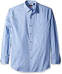 Van Heusen Men's Long Sleeve Traveler Stretch Non Iron Shirt, Blue Crisp, Large