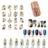 Hot Gold 3D Nail Art Stickers Decals,108pcs/sheet Top Quality Metallic Flowers Mixed Designs Nail Tips Accessory Decoration Tool (Color: Gold)