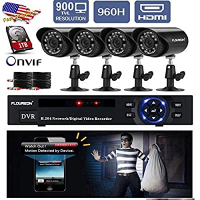 FLOUREON 1 X 4CH Motion Detection Push Alerts Onvif 960H DVR + 4 X Outdoor Indoor Day Night IR-CUT 900TVL Bullet Camera Home Video Surveillance Security System+ 1TB HDD