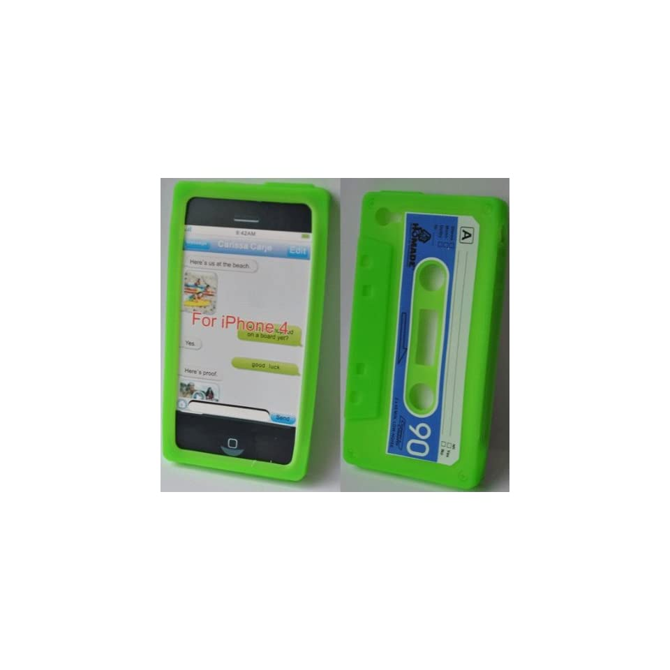 Mobile Palace  Green Cassette silicone case cover pouch for Apple iphone 4g