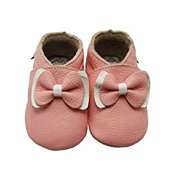 Sayoyo Baby Bow Soft Sole Pink Leather Infant and Toddler Shoes 12-18months