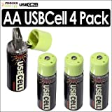 Moixa MXAA02 USBCell AA Rechargeable USB Cell Batteries 4 Pack Kit Moixa