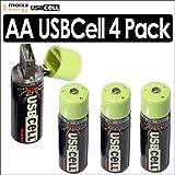 Moixa MXAA02 USBCell AA Rechargeable USB Cell Batteries 4 Pack Kit Moixa