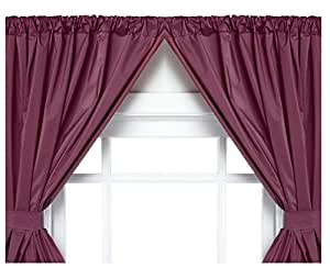 Vinyl Bathroom Window Curtain 2 Panels With Tie Backs 5 Guage Burgundy Home Kitchen
