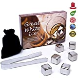 Whiskey Stones - 6 Drink Chilling Stainless Steel Reusable Ice Cubes, 1 Whisky Stone Storage Pouch And Tongs In Gift Box. Use These Ice Rocks In Any Drink With Minimal Freezing Time. Best Whiskey Rocks On The Market! Lifetime Replacement Guarantee.