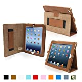 Snugg iPad 4 & iPad 3 Case – Leather Case Cover and Flip Stand with Elastic Hand Strap and Premium Nubuck Fibre Interior ('Distressed' Brown) – Automatically Wakes and Puts the iPad 4 & 3 to Sleep. Superior Quality Design as Featured in GQ Magazine Reviews