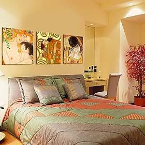 sk leinwand art mutter und sohn und kuss von klimt set von 3 24 x 24. Black Bedroom Furniture Sets. Home Design Ideas