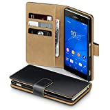 Sony Xperia Z3 Premium PU Leather Wallet Case by Terrapin (Black/Tan) 国内正規品