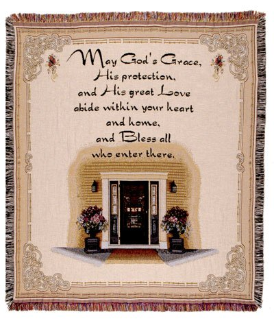 "A Blessing For Your Home Religious Tapestry Throw Blanket 50"" X 60"" front-965836"