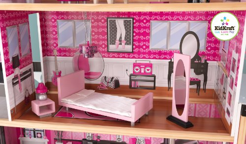 KidKraft Sparkle Mansion Wood Furnished Doll House Play