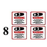 "NEW! INSIDE MOUNT 8 Pack #204-IM Commercial Grade Outdoor / Indoor Security Surveillance CCTV Video Warning Decal - 4""x 4"""