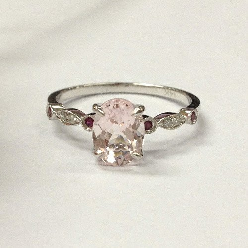 SALE!Antique Art Deco Engagement Wedding Ring Solid 14K White Gold Oval Cut 6x8mm Morganite (Fancy Pink,VS) with 0.05ct Diamonds and 0.05ct Rubies