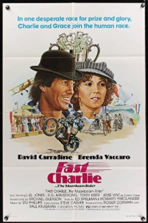 Fast Charlie one-sheet movie poster '79 art of David Carradine on motorcycle + Brenda Vaccaro by Larry Salk!
