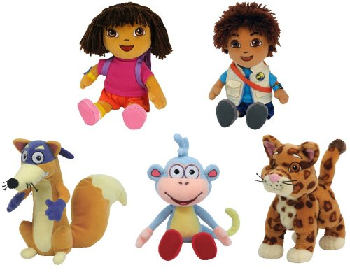 TY~DORA~ DIEGO~ BOOTS THE MONKEY~ SWIPER THE FOX & BABY JAGUAR BEANIES