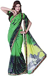 Ambica Saahi Women's Georgette And Chiffon Saree (Ambica 1005B_1, Green, Blue Colour)