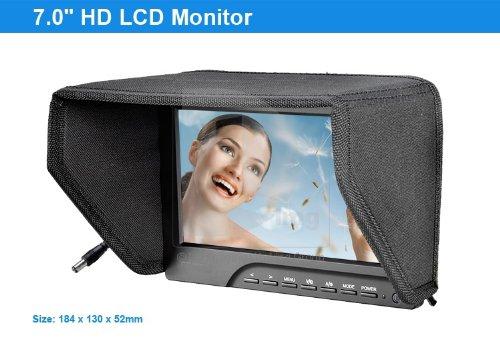 Koolertron Protable 1080P 7 Inch Camera/Crane Jib Field Monitor Dslr Hdmi Vga W/F970 Adapter