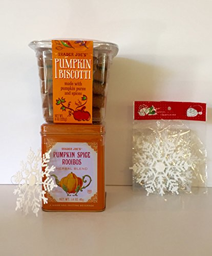Trader Joe's Pumpkin Biscotti and Pumpkin Spice Rooibos Tea + Free Set of 9-Xmas Snowflakes and More. The Perfect Pumpkin Bundle(3 Items) (Trader Joes Truffle Salt compare prices)