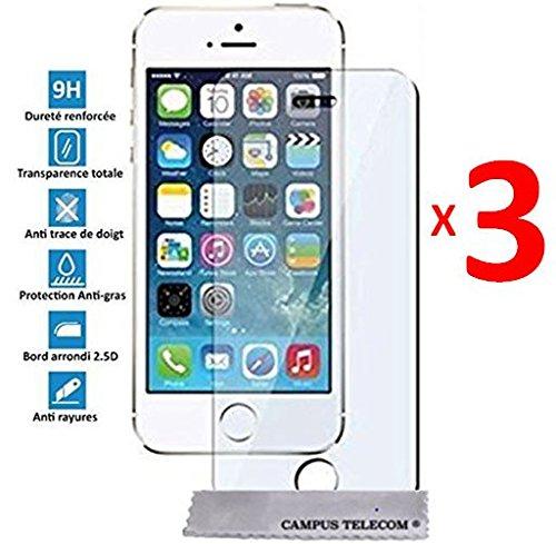 3 Films Vitre Verre Trempé de protection ecran pour Apple IPHONE 5 5S 5C SE by D&C®