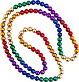 "One Dozen 48"" 12 mm Round Metallic Rainbow Colored Mardi Gras Beads Necklace"