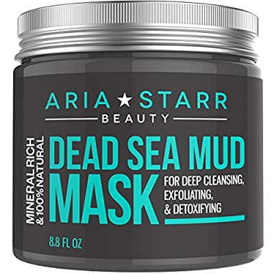 Aria Starr Beauty Dead Sea Mud Mask For Face, Acne, Oily Skin & Blackheads - Best Facial Pore Minimizer, Reducer & Pores Cleanser Treatment - 100% Natural For Younger Looking Skin 8.8oz
