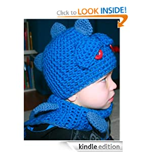 Crochet Pattern boy's dragon / dino hat with scarf, Includes 4 sizes