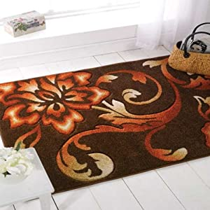 Flair Rugs Orleans Fragrance Hand Carved Rug, Brown/Copper, 120 x 170 Cm from Flair Rugs