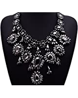Gril Era Evening Party Luxury Colorful Rhinestone Crystal Chain Teardrop Shape Bib Temperament Necklace