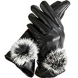 (ロジャーベルダー) LOGER BELDER スマホ スマートフォン 対応 人気 レザー 手袋 インナー フリース レディース 大人 女性 用 かっこいい 革 手ぶくろ 冬 防寒 グローブ 裏起毛 冷えない 暖かい 黒 ブラック (フリーサイズ) (ブラック)