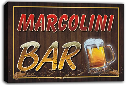 scw3-063224-marcolini-name-home-bar-pub-beer-mugs-stretched-canvas-print-sign