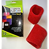 4 Wristband (2 Pair) In RED Color Soft Sweatband For All Sport, Stretchable, Sweat Absorbent Supports Wrist MADE In INDIA