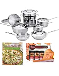 Cuisinart 77-14 Cuisinart Chefs Classic Stainless 14-piece Cookware Set + Kamenstein Mini Measuring Spoons Spice Set + Not Your Mother's... by Cuisinart