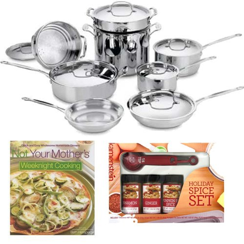 Cuisinart 77-14 Cuisinart Chefs Classic Stainless 14-piece Cookware Set + Kamenstein Mini Measuring Spoons Spice Set + Not Your Mother's Weeknight Cooking