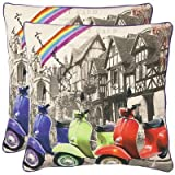 Safavieh Pillows Collection Vienna Decorative Pillow, 18-Inch, Multicolored, Set of 2