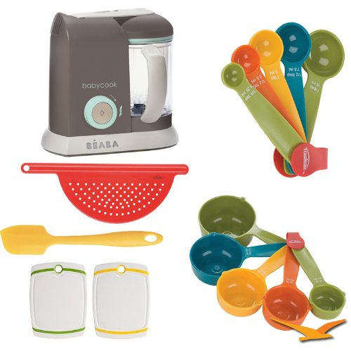 Best Beaba Babycook Pro Baby Food Processor and Steamer 912313 Deluxe Bundle with 5-Piece Measuring Cup Set, 5-Piece Measuring Spoon Set, 9 inch Yellow Spatula, Reversible Cutting Board, and Red Pot Drainer