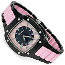Landoux Womens Designer Ceramic-Swiss Movement Timepiece- 0.2ctw Diamond Watch