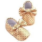 etrack-online Kid Niños Moccasins suave suela antideslizante Dot Bow-knot Zapatos de Prewalker dorado dorado Talla:0-6 meses